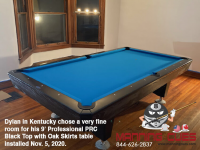 DIAMOND 9' PROFESSIONAL PRC BLACK TOP WITH OAK SKIRTS AND LEGS - DYLAN FROM KENTUCKY - INSTALLED NOVEMBER 5, 2020