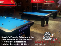 3 X DIAMOND 7' PRC BLACK SMART TABLES - DEWAIN'S BAR FROM OKLAHOMA - INSTALLED SEPT 23, 2021