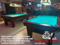 2 X DIAMOND 7' OAK ROSEWOOD SMART TABLES - VFW POST 6386 FROM TEXAS - INSTALLED SEPT 29, 2021