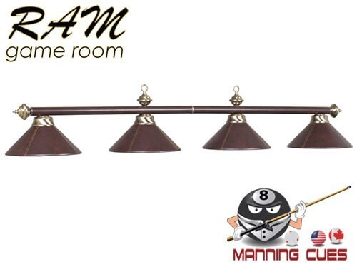 The look of brown leather metal 4 light fixture