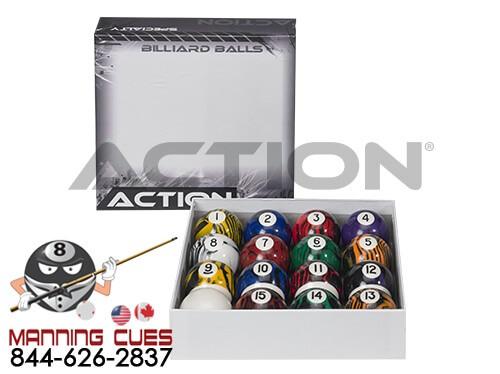 Action Pool Ball Set - Black Swirl Marble