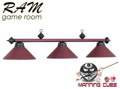 Economy matte burgundy metal 3 light fixture