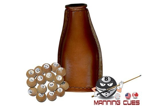 Leather Shake Bottle With Wood Pool Balls
