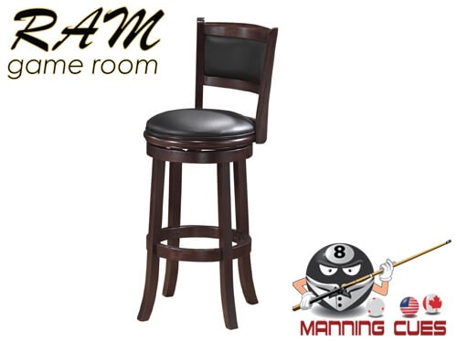 Bar stool with padded vinyl seat & back - Cappuccino
