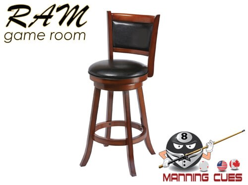 Bar stool with padded vinyl seat & back - Chestnut