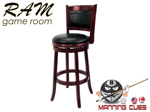Bar stool with padded vinyl seat & back - English Tudor