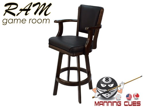 Bar stool with Arms, padded vinyl seat & back - Black