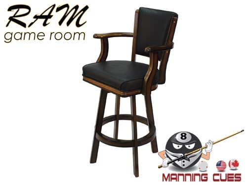 Bar stool with Arms, padded vinyl seat & back - Chestnut