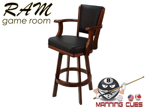 Bar stool with Arms, padded vinyl seat & back - English Tudor