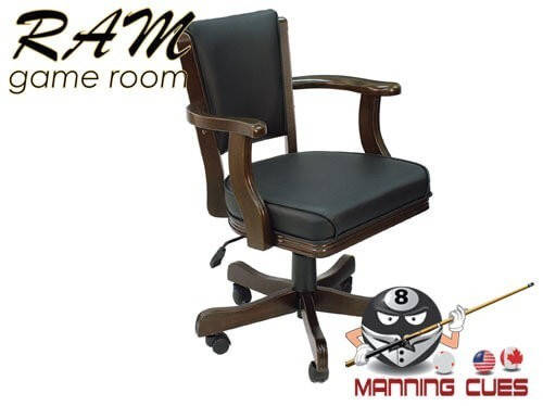 Game Chair with arms, padded vinyl seat & back - Black