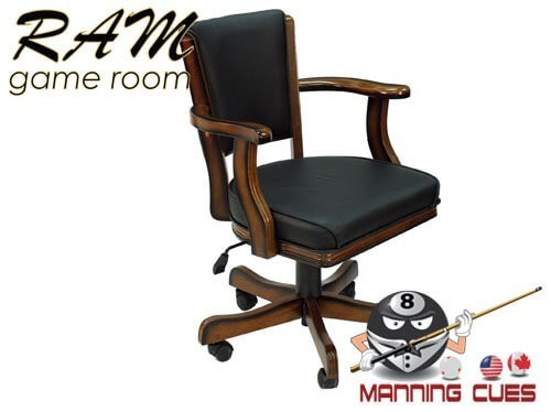 Game Chair with arms, padded vinyl seat & back - Chestnut