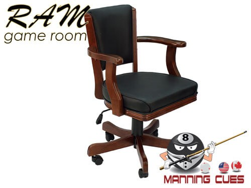 Game Chair with arms, padded vinyl seat & back - English Tudor