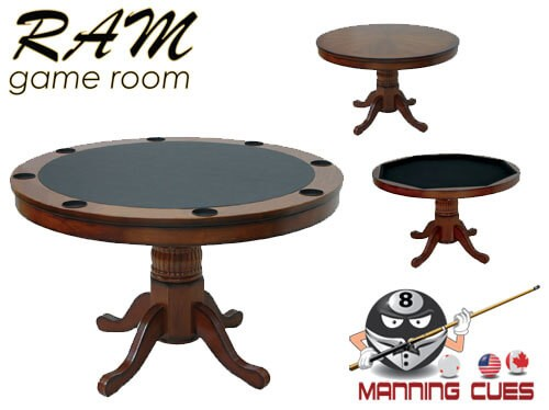 Game Table Round Solid Wood with Reversible Top