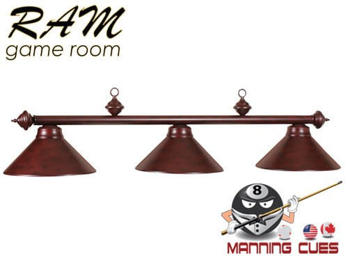 Economy mahogany metal 3 light fixture