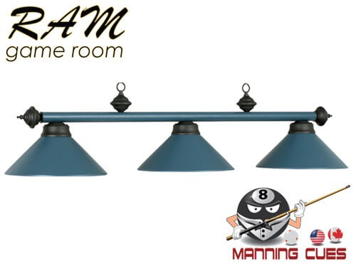 Economy matte blue metal 3 light fixture
