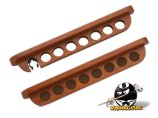 2 Piece 7 Cue Wall Rack with Holes
