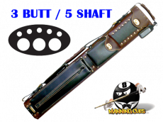 Instroke 3B/5S Chestnut & Black Leather Cowboy Cue Case