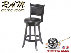 Bar stool with padded vinyl seat & back - Black