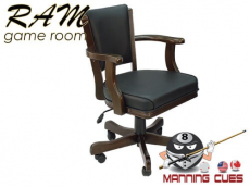 Game Chair with arms, padded vinyl seat & back - Cappuccino
